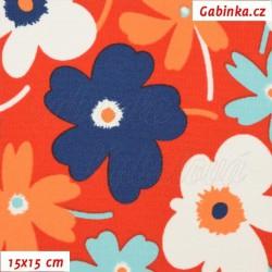 Kočárkovina, Květiny pestré na červené, MAT, šíře 160 cm, 10 cm
