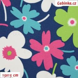 Kočárkovina MAT, Květiny pestré na modré, šíře 160 cm, 10 cm, Atest 1