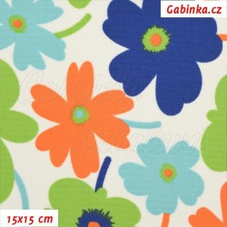 Kočárkovina MAT, Květiny pestré na bílé, šíře 160 cm, 10 cm, Atest 1