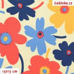 Kočárkovina MAT, Květiny pestré na smetanové, šíře 160 cm, 10 cm, Atest 1