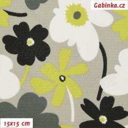 Kočárkovina, Květiny pestré na světle šedé, MAT, šíře 160 cm, 10 cm