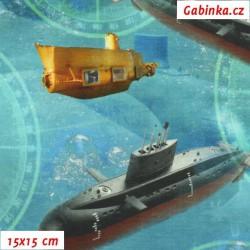 Látka úplet s EL Digitální tisk - Ponorky v moři, šíře 160 cm, 10 cm