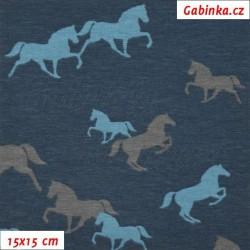 Látka úplet s EL - Koníci modří a šedí na tmavě modré , šíře 150 cm, 10 cm