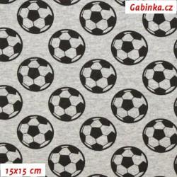 E - Teplákovina s EL - Fotbalové míče na šedém melíru, šíře 145 cm, 10 cm