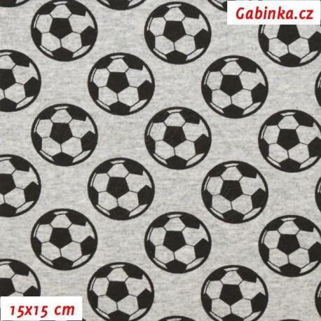 Teplákovina s EL - Fotbalové míče na šedém melíru, šíře 145 cm, 10 cm