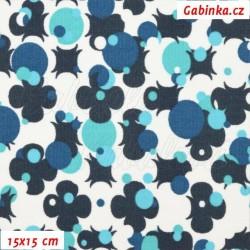 Kočárkovina MAT, Čtyřlístky na paintballu modré na bílé, šíře 160 cm, 10 cm, Atest 1