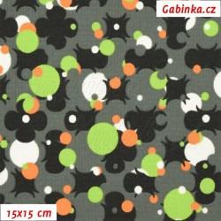Kočárkovina, Čtyřlístky na paintballu zelené a oranžové na šedé, MAT. šíře 160 cm, 10 cm