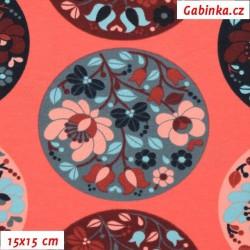Teplákovina s EL - Květiny v kolečkách na korálové, šíře 150 cm , 10 cm