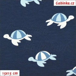 Látka úplet s EL - Želvičky na modré, šíře 150 cm, 10 cm