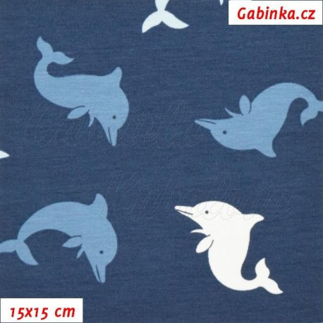 Látka úplet s EL - Delfínci na modré, šíře 145 cm, 10 cm