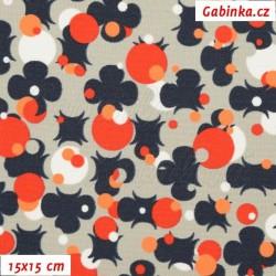 Kočárkovina MAT, Čtyřlístky na paintballu oranžové a modré na sv. šedé, šíře 160 cm, 10 cm