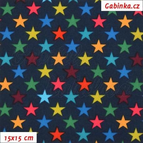 Látka Softshell - Hvězdičky 15 mm na tmavě modré, 15x15 cm