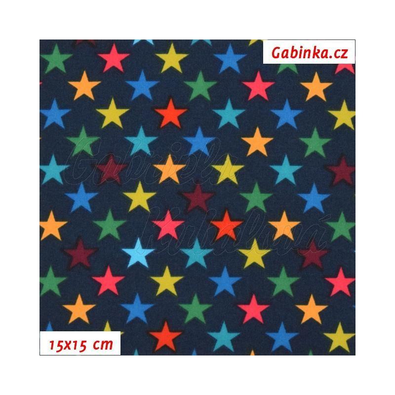 Zimní softshell - Hvězdičky 15 mm na tmavě modré 7dd5a80116