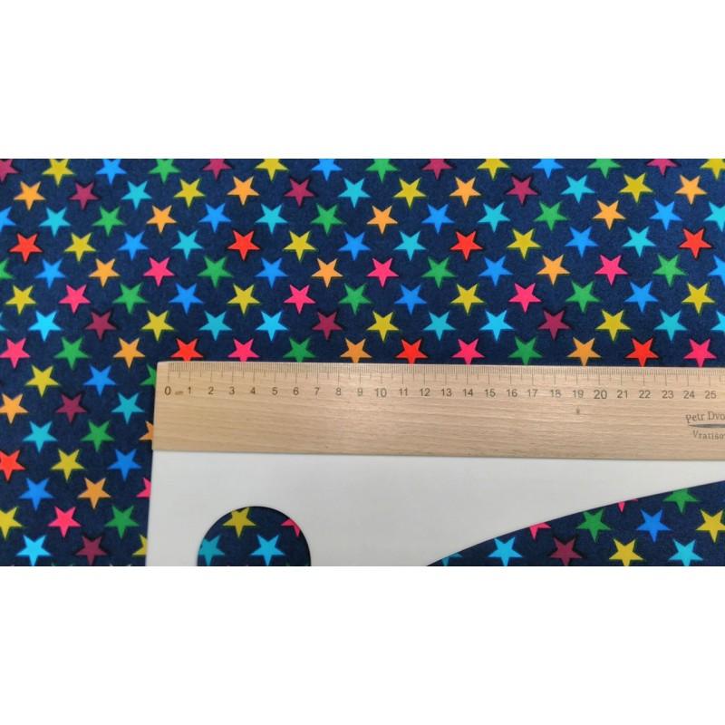 ... Látka Softshell - Hvězdičky 15 mm na tmavě modré 67a757b3e6