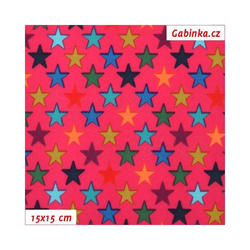 Zimní softshell - Barevné hvězdičky na tmavě růžové 7b391d6cb6