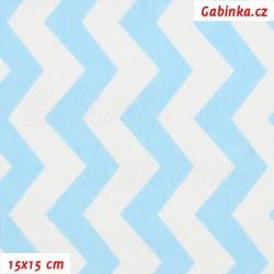 Plátno - Cik-cak sv. modrá a bílá, šíře 160 cm, 10 cm