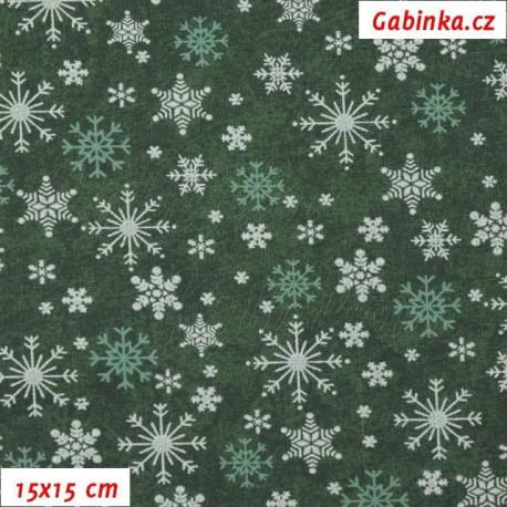 Vánoční látka - bílé a zelené vločky na zelené batice, 15x15 cm