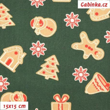 Vánoční látka - Perníčky na zelené, 15x15 cm