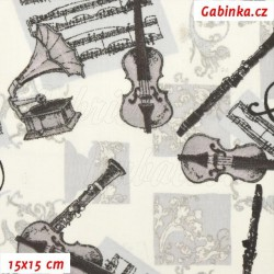 Plátno - Hudební nástroje s gramofonem na bílé, 15x15 cm