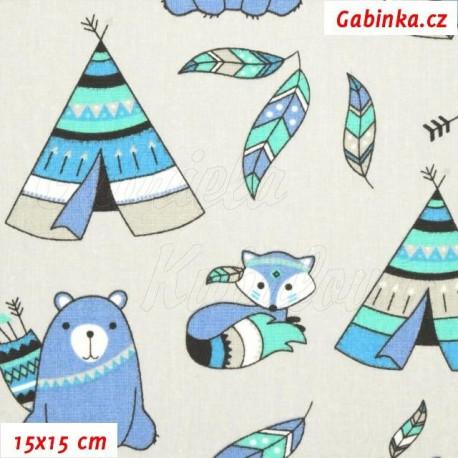 Plátno - Zvířátka-indiáni a teepee modrozelená na smetanové, 15x15 cm