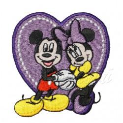 Nažehlovací záplata Disney Mickey a Minnie Mouse v srdci