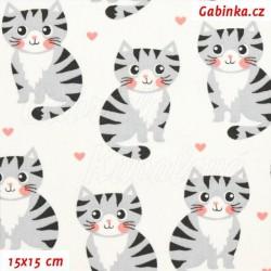 Plátno - Kočičky šedé na bílé, šíře 160 cm, 10 cm