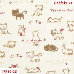 Plátno BA-PES-LEN, Kočičky Beautiful Day, šíře 150 cm, 10 cm