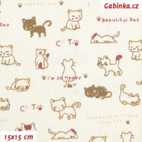 Plátno BA-PES-LEN, Kočičky Beautiful Day, 15x15 cm