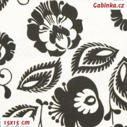Plátno - Květiny černé na bílé, šíře 160 cm, 10 cm