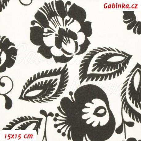 Plátno - Květiny černé na bílé, 15x15 cm