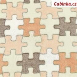 Plyš - Puzzle hnědé, šíře 150 cm, 10 cm