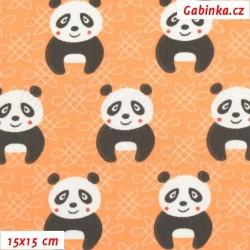 Plátno - Pandy na oranžové, 15x15 cm