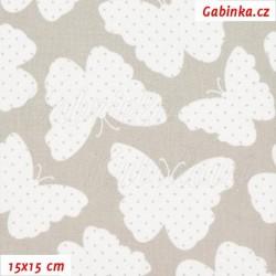 Plátno - Motýlci s tečkami bílí na šedé, šíře 160 cm, 10 cm
