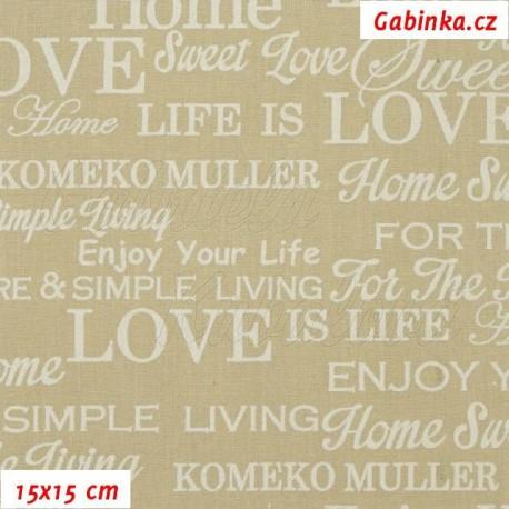 Plátno - Nápisy LOVE Enjoy Sweet smetanové na béžové, 15x15 cm