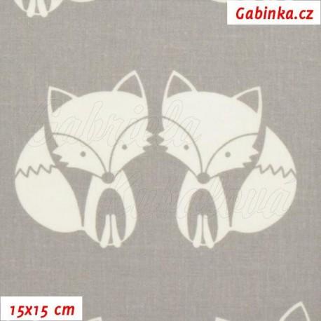 Plátno - Lištičky bílé na sv. šedé, 15x15 cm