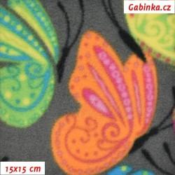 Fleece - Motýlci na šedé, 15x15 cm