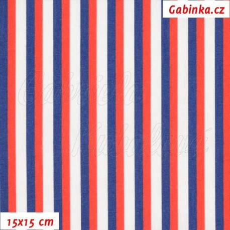Plátno - Trikolora proužky 5 a 7 mm, 15x15 cm