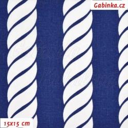 Plátno - Provazy 3 cm bílé na tm. modré, 15x15 cm