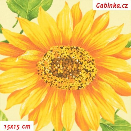 Plátno - Slunečnice na sv. žluté, 15x15 cm