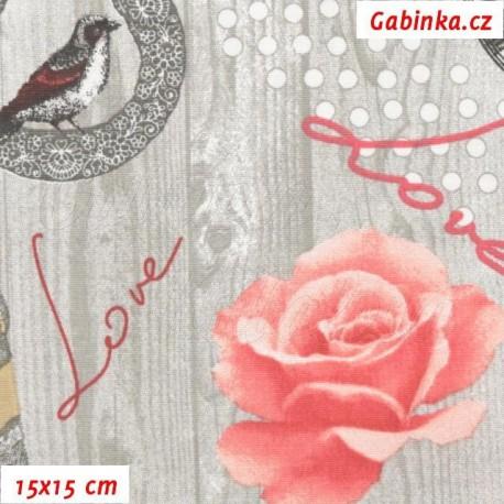 Plátno - Červené růže, Love, hodiny, Paříž na šedém dřevě, 15x15 cm