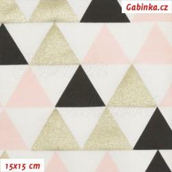 Úplet tričkovina - Trojúhelníky zlaté, černé a růžové na bílé, šíře 180 cm, 10 cm, ATEST 1