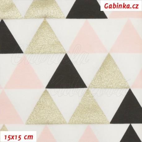 Úplet tričkovina - Trojúhelníky 45mm zlaté, černé a růžové na bílé,15x15 cm