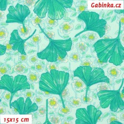 Plátno - Listy Ginko, šíře 150 cm, 10 cm