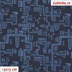 Plátno - Domečky a cestičky modré na tm. modré, 15x15 cm