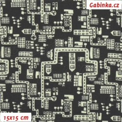 Plátno - Domečky a cestičky světlé na černé, šíře 140 cm, 10 cm