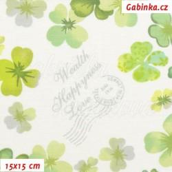 Plátno - Čtyřlístky Wealth Happyness Love, šíře 140 cm, 10 cm