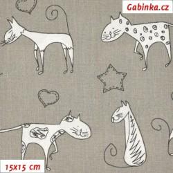 Plátno - Kreslené kočky na šedé, šíře 140 cm, 10 cm