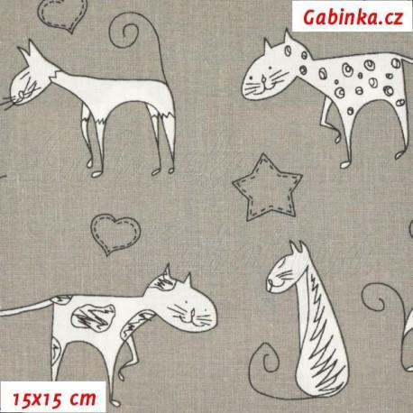 Plátno - Kreslené kočky na šedé, 15x15 cm