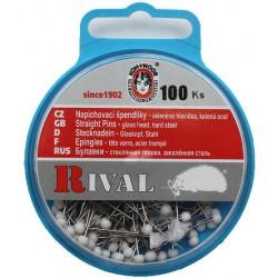 Špendlíky se skleněnou hlavičkou bílou KOH-I-NOOR RIVAL, 100 ks