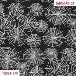 Zimní softshell - Bílé pavučiny na černé, šíře 150 cm, 10 cm, 2. jakost